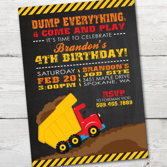 Dump truck birthday invitation printable dump truck birthday like this item stopboris Images