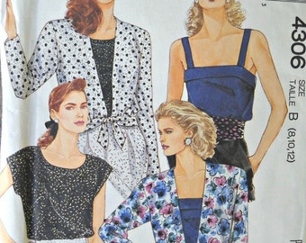 McCall's 4306 Unlined Jacket, Top, and Camisole Pattern, Sizes 8, 10, 12, Vintage 1989