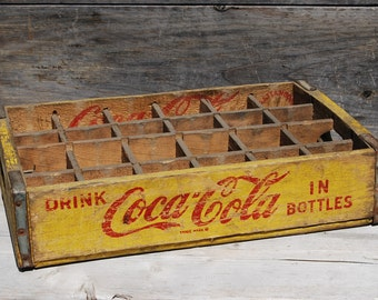 Antique Coca-Cola Yellow and Red Soda Crate, 1967 Chattanooga Coke Crate