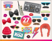 DIY 80s Photo Booth Props   27 Printable 80s Props   Instant Download   80s Photo-Booth Clipart