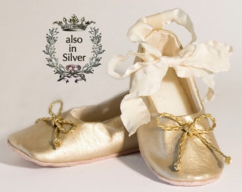 Gold Baby Shoe, Toddler Ballet Slipper, Gold Flower Girl Shoe, Ballet Flat, Gold Christmas Shoe, Little Girl Shoe, Holiday, Baby Souls Shoe