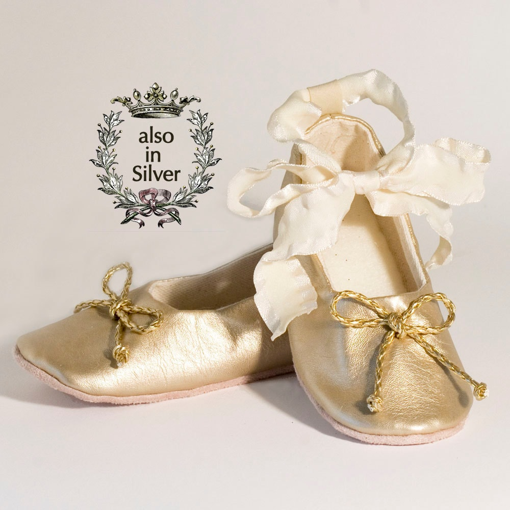Gold Baby Shoe Toddler Ballet Slipper Gold Flower Girl Shoe