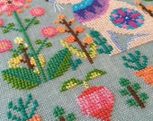Sweet Spring : Satsuma Street Jody Rice counted cross stitch patterns Easter bunny embroidery thecottageneedle