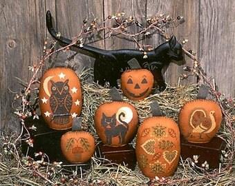 Pumpkins Book No. 57 Halloween cross stitch pattern by Prairie Schooler at thecottageneedle.com