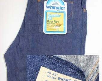 "vintage 1970's -Wrangler- Blue jeans. 'New Old Stock' w/ tags. 14 oz. cotton denim. Regular fit - Boot flare. 36"" x 31"""