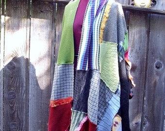 Boho pathcwork.Wearable Art Collage Shawl. Ethical Vegan Fashion