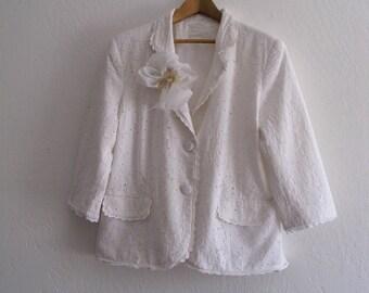Romantic White Cotton Lace Jacket