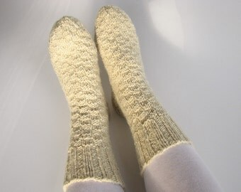 Woolen Socks EU Size 37.5-39 - Undyed Unbleached White Hand Knitted  - 100% Natural Organic Clothing