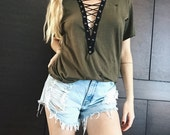 Handmade Lace Up Vintage Tshirt Army Green Distressed LF Inspired Laced Front Grunge Womens top Small Medium