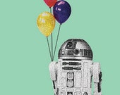 R2D2 birthday card Hand Drawn Star Wars Inspired Blank Card