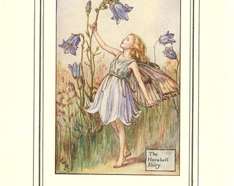 THE HAREBELL FAIRY Vintage Book Page c. 1940 Cicely M Barker Book of the Flower Fairies