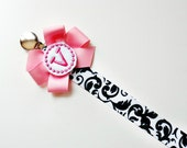 Damask  Monogram Pacifier Clip Holder Baby Girl Personalized Pacifier Clip Nuk Soothie Mam Pacifier Clip Girl Paci Baby Gift