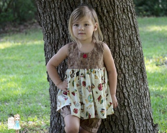 Julie Back to School Top with Fawn pleated  bubble shorts or Dress. Size 2 - 8-- Size 4 Ready to Ship