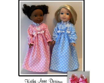 "Classic nightgown and slippers PDF sewing pattern for 14 1/2"" dolls like Wellie Wishers"