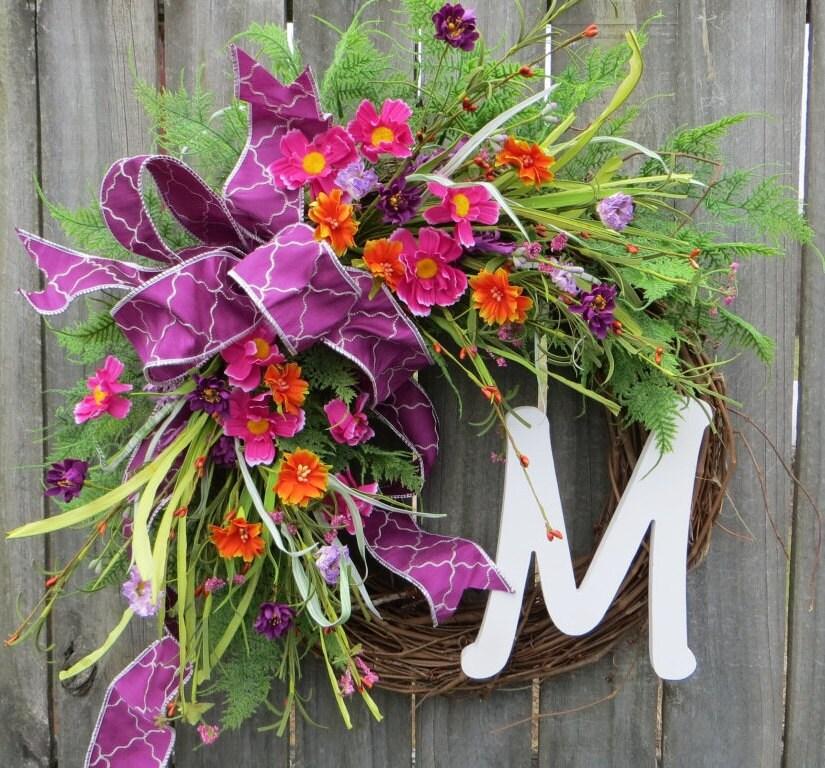 Spring Wreath Spring Pink Purple Orange Wreath Front Door