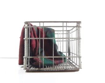 Vintage Metal Wire Crate / Industrial Storage / Metal Milk Crate