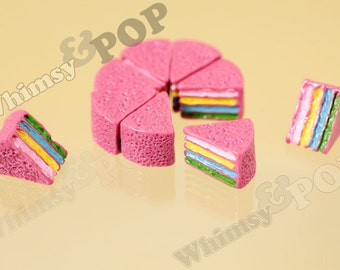 3D Rainbow Layer Cake Slice Resin Cabochons, Cake Cabochon, Dessert Cabochon, 12mm x 16mm (R4-038)