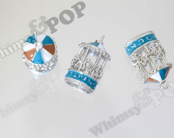 1 - Silver Tone Blue Brown Enamel Pegasus Horse Merry Go Round Carousel Charm, Carousel Charm, Carousel, 29mm x 17mm (R9-138)