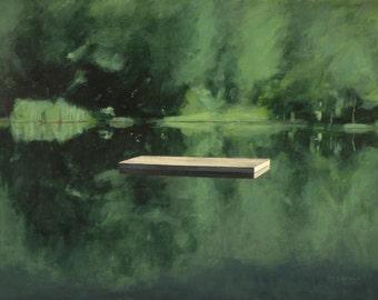 "Original landscape painting of a raft on a still pond. 24"" x 32""."