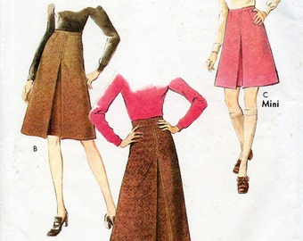 1970s Set of Skirts Pattern Style 2992 Vintage Sewing Pattern Boho A-Line Mini or Knee Length Skirt with Inverted Pleat Waist 24 FF Unused
