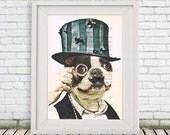 Steampunk French Bulldog Print Drawing Illustration Digital Print Mixed Media  Art Poster Acrylic Painting Holiday Decor Drawing frenchie