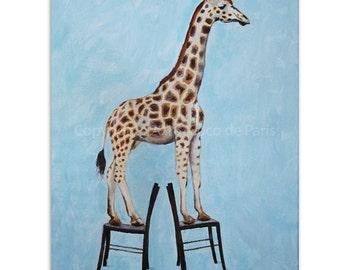 Giraffe Art, Giraffe Painting, handpainted, Giraffe on chairs, giraffe decor by painter Coco de Paris