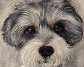 dog memorial 11x14 custom pet portrait on canvas from photo oil and acrylic original