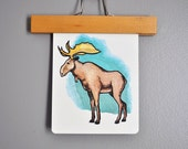 Over-Sized Mid-Century Moose Flash Card