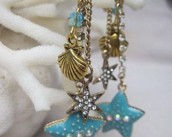 Dazzling Blue Star Fish n Shell Crystal Dangling Earrings