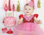 Valentine || Sprinkle Candy Crowns|| cake topper || cake smash || headband option || photo prop || choose ONE