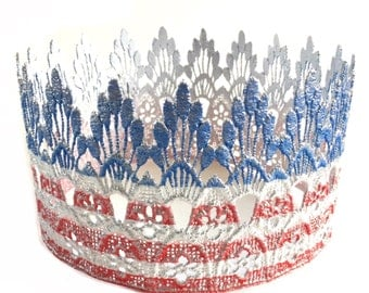 4th of July lace crown || Sienna Tall FULL SIZE || Vintage Flag || Memorial Day ||American || custom sizes