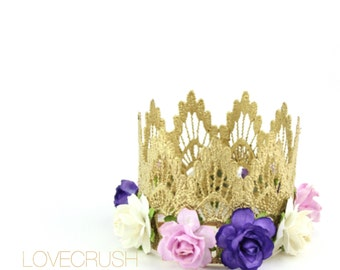 Ready to Ship    Sienna with multi purple flowers    Gold lace crown headband   
