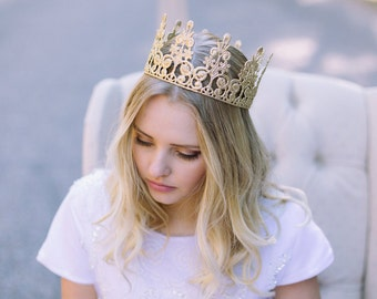 Elle Lace Crown || Ready to Ship || GOLD full size lace crown || photography prop|| Toddler-Adult || WASHABLE