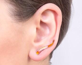 Ear climbers, wavy, enamel earrings, orange earrings, modern, minimalist, handmade earring, one of a kind, unique, comfortable, gift for her