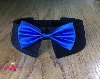 Black Collar with Satin Neck Tie or Satin Bow Tie for Dogs, Dog Wedding Tie, Dog Wedding Bow Tie
