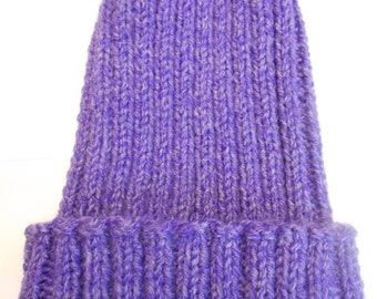 Knit Hat, Adult-Older Child Knit Hat, Warm Winter Hat, Purple Acrylic Yarn Hat, Hand Knit Hat, Gift Idea for Her