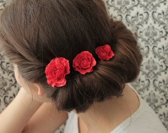 Red Rose Hair Pins Hairpins Set Floral Hair Decoration Accessory Women Handmade Polymer Clay Pins Set Hair Decor Weddiung Bridal Hair Style
