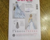 1950's RETRO Off the Shoulder WEDDING Gown, Over Jacket & Ruffle Bustle - Size (10 - 18) - UNCUT Sewing Pattern Burda 7251