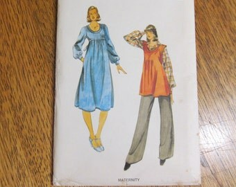 1970s BOHO Empire Line Dress / Sleeveless Jumper with Straight Pants - Size 14 - UNCUT Vintage Sewing Pattern Butterick 5573