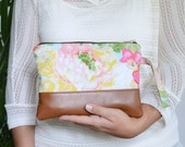 Floral Wristlet, Wristlet Wallet, Clutch Purse, Leather Wristlet, Zippered Pouch, Gifts for Her