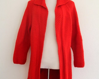 1960s Long Red Cardigan Oversized Open Front Knit Large Collar Winter Sweater Womens Vintage Large