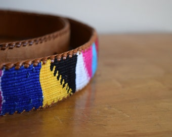 Vintage Leather Woven Cotton Native American Belt - Size Small
