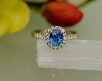 Blue Sapphire Engagement Ring in 14k White Gold Diamond Halo