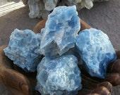 "BLUE CALCITE Natural Crystal Rock XLg 15oz 4""-3"" 3oz Sea Salt Raw Chunky Gemstone Yoga Stone Reiki Meditate Chakra Mineral Specimen Altar"