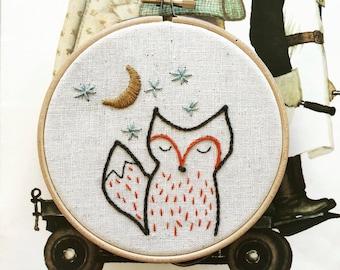 embroidery kit // foxy night - fox embroidery kit