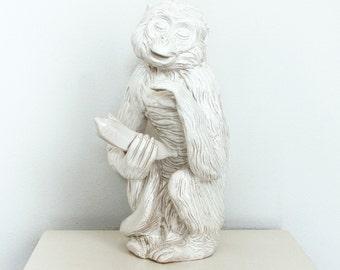 Mid Century Monkey Statue - Large Vintage Ceramic Monkey - White Capuchin Monkey Sculpture - Large White Monkey Pottery Statue