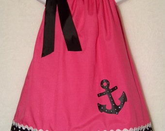 ANCHOR Pillowcase Dress / Nautical / Patriotic / Bling / Pink / Black / Newborn / Infant / Baby / Girl / Toddler / Custom Boutique Clothing