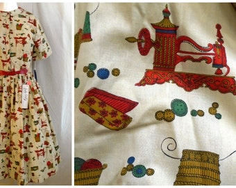 Vintage 1950's Dress Novelty Print Deadstock NWT Sewing Machines and Notions Print Fit and Flare 36 x 26 x full