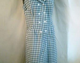 Vintage Scooter Dress 1960's Blue Checked Summer Dress Sleeveless Plaid 38 x 33 x 40
