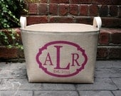 20% OFF! Monogrammed Ivory Burlap Bin with Triple Monogram - chic storage, great bridesmaid gift, birthday, personalized gift